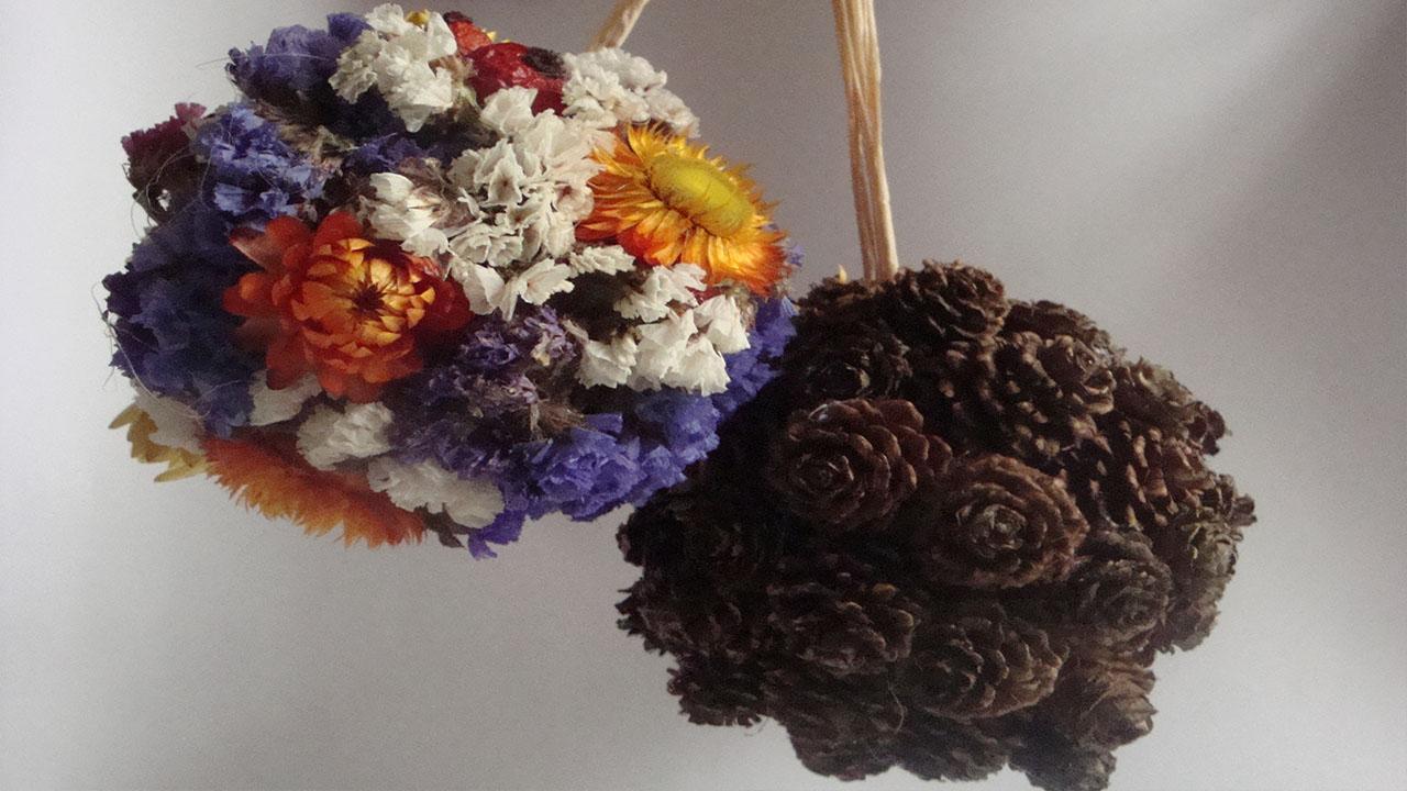 Raumdekoration selber machen Deko Kugel mit Lerchen   flora-shop.eu