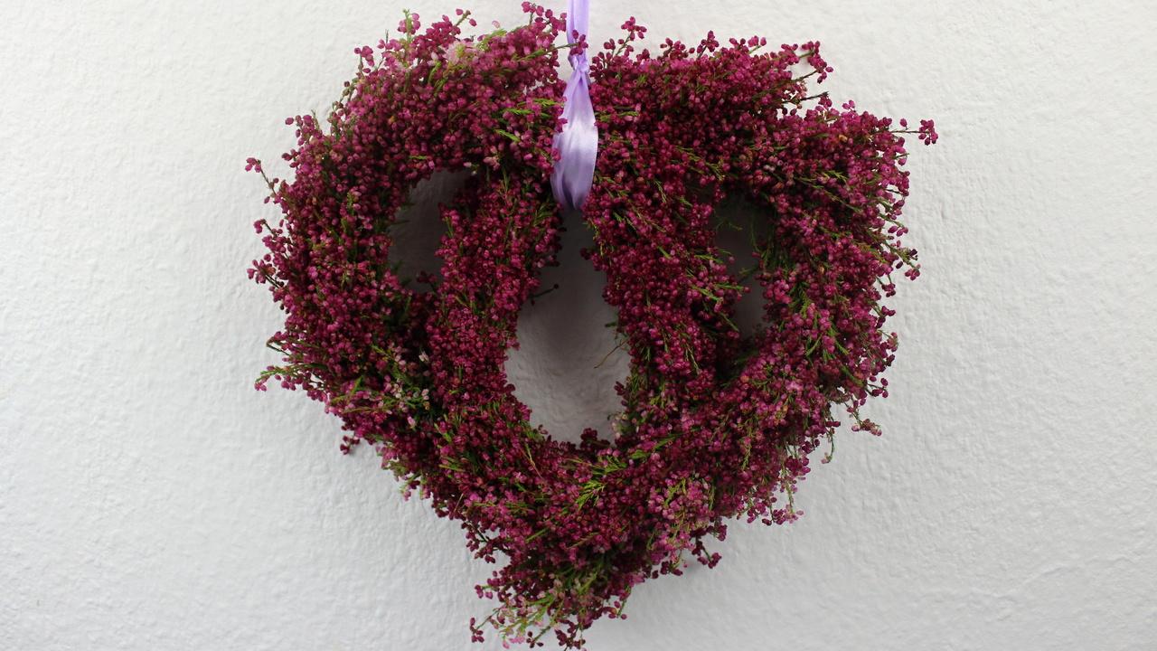 Herbstdekoration mit Heide Türkranz, Deko Herz oder Girlande ganz einfach selber binden.