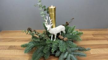 Adventsgesteck mit einer Kerze oder LED Licht selber machen ❁ Deko Ideen mit Flora-Shop
