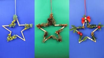 Upcycling Weihnachtsdekoration aus Eisstiele als Stern.