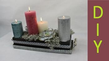 Weihnachtsdeko Adventsgesteck auf einem Tablett mit schwarzer Steckmasse ❁ Deko Ideen mit Flora-Sho