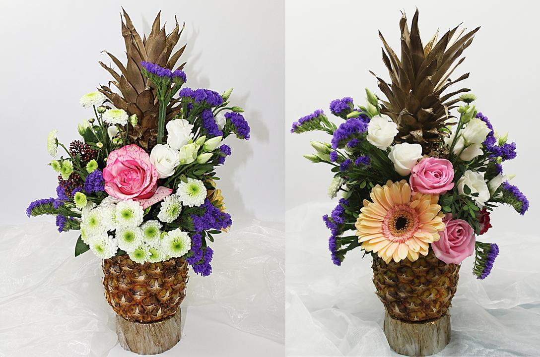 Blumendekoration für ein Buffet mit Ananas ❁ Video Anleitung