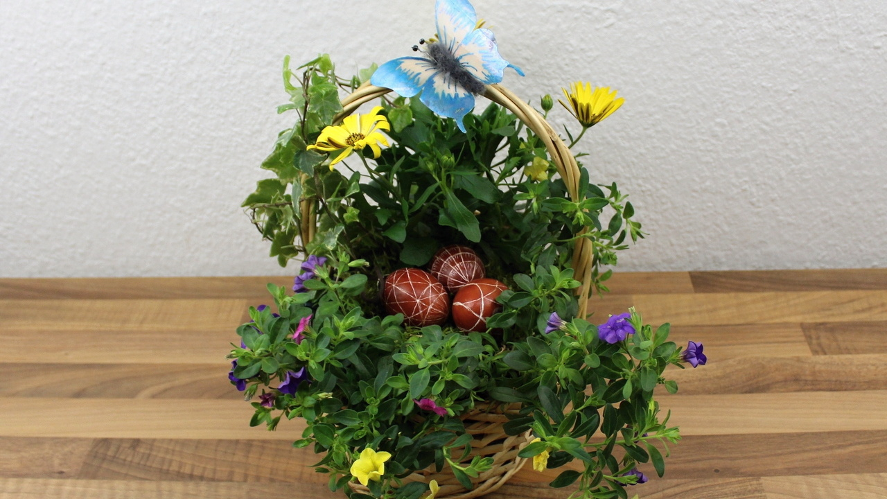 Geschenk Idee für den Balkon oder Garten in einem Körbchen