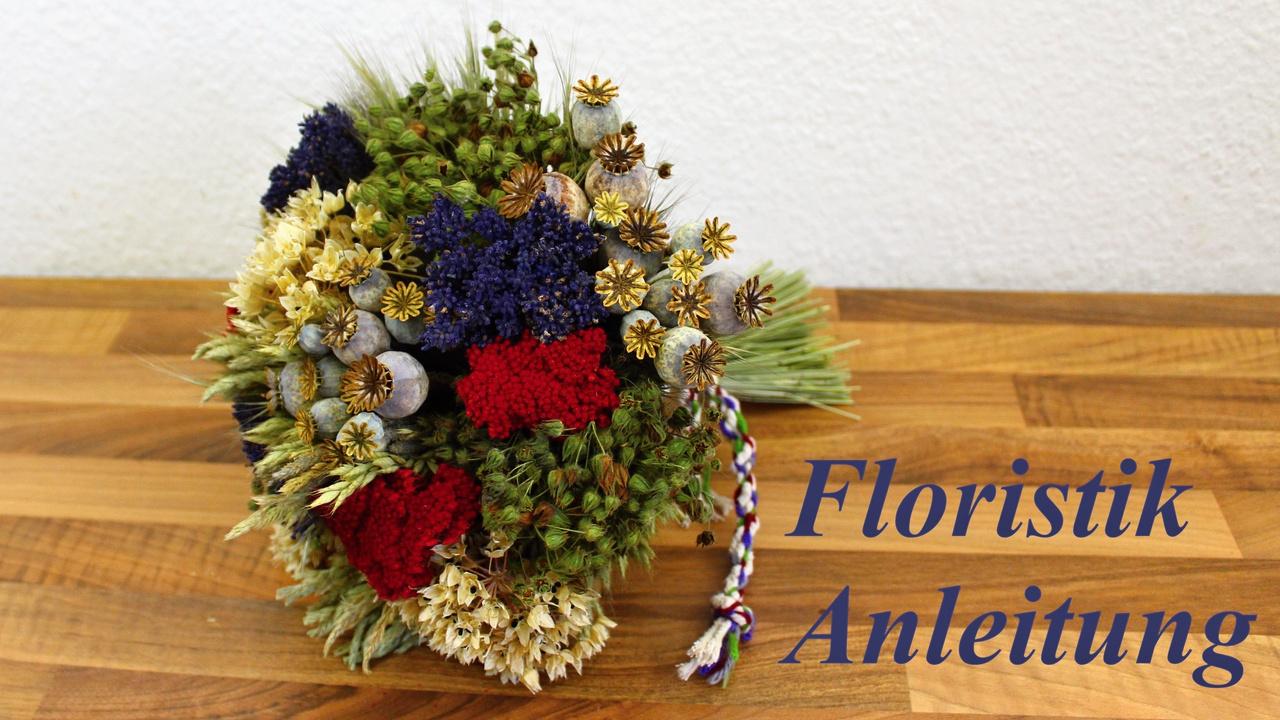 Trockenblumenstrauß aus Gartenblumen und Gräser selber binden